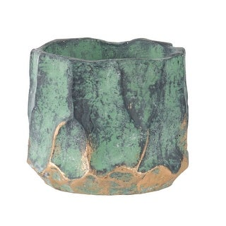 """Link to 5.25"""" Green and Gold Contemporary Small Round Planter Similar Items in Planters, Hangers & Stands"""