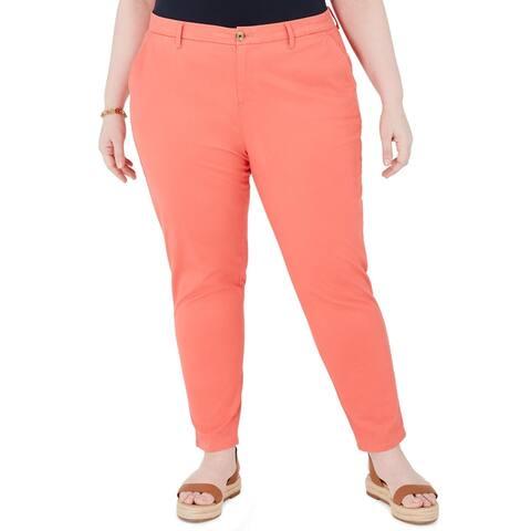 Tommy Hilfiger Womens Plus Hampton Chino Pants High Rise Straight Leg - Orange