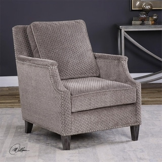 "37"" Dallen Hounds Tooth Textured Pewter Gray Chenille Curved Accent Armchair"