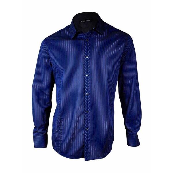 f8296cb9d8 INC International Concepts Men's Metallic Pinstriped Dress Shirt