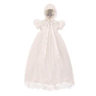 Rain Kids Little Girls Ivory Lace Satin Tulle Overlay Bonnet Baptism Dress