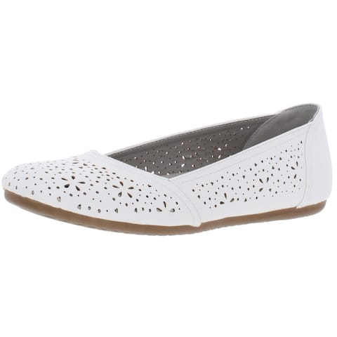 Easy Street Womens Booklyn Ballet Flats Comfort Insoles Perforated - White - 8 Narrow (AA,N)