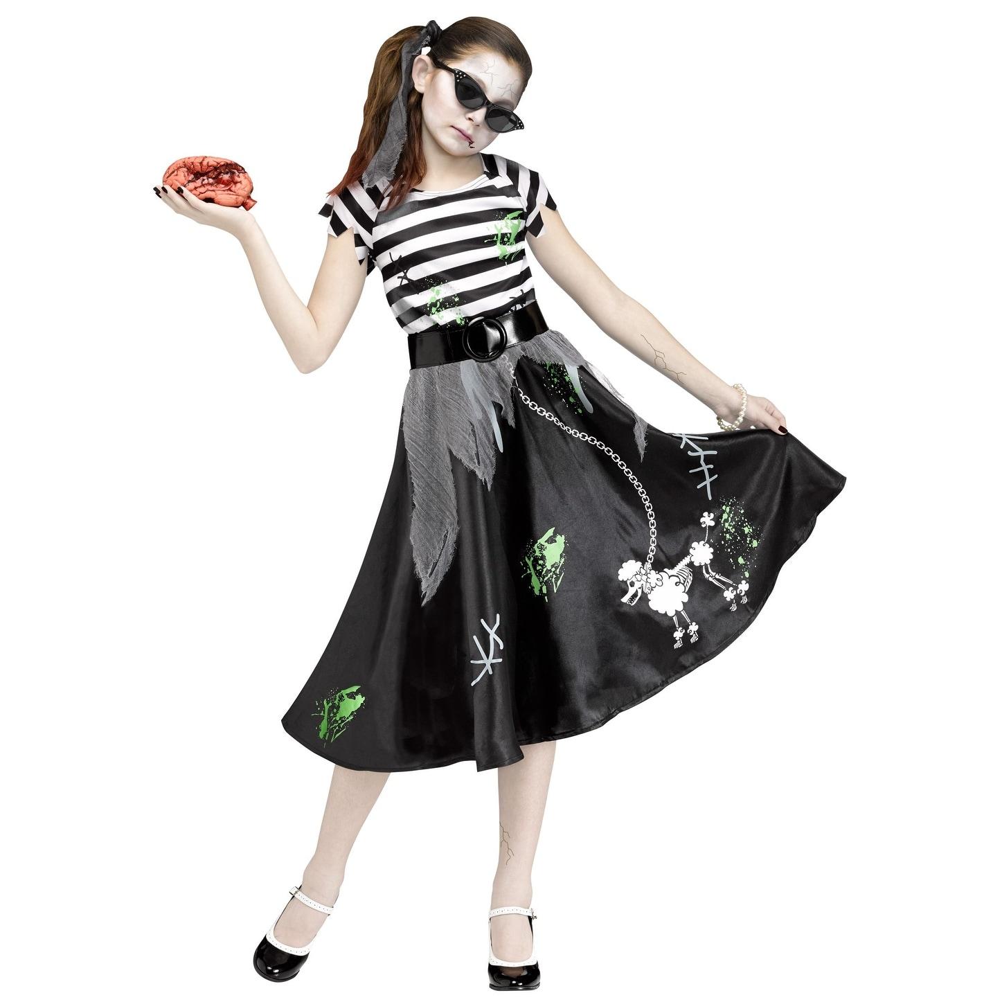Black and White Sock Hop Zombie Girls Children Halloween Costume - Medium