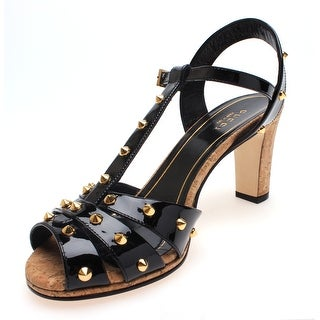 Gucci Women's Leather Studded Strappy Cork Heel Sandals Black