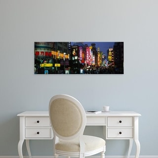 Easy Art Prints Panoramic Images's 'Group of people walking on the road, Nanjing Road, Shanghai, China' Canvas Art