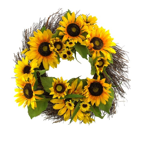 """22"""" Decorative Yellow Silk Sunflower and Twig Artificial Spring Floral Wreath"""