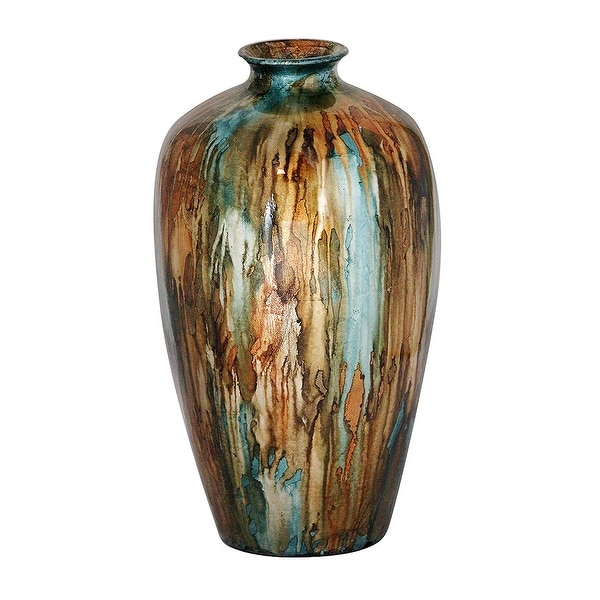 """21"""" Foiled & Lacquered Ceramic Vase In Turquoise, Copper And Brown"""