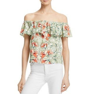Guess Womens Blouse Floral Print Off-The-Shoulder
