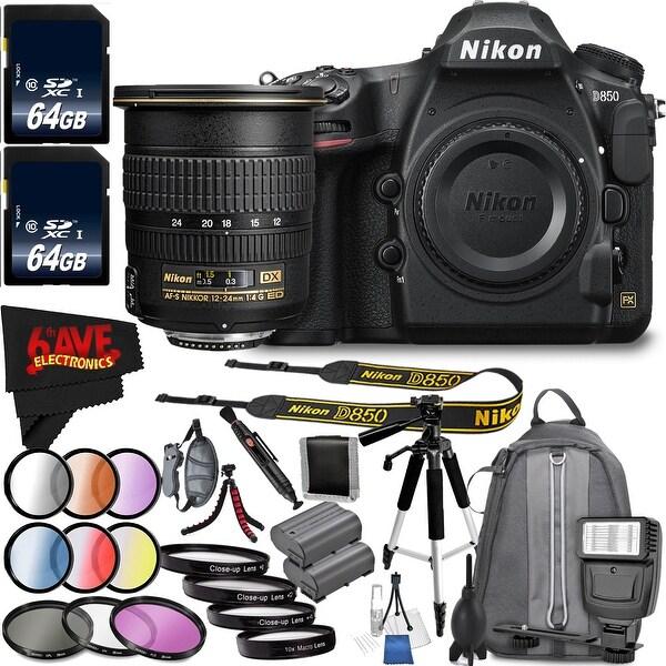 Nikon D850 DSLR Camera (Body Only) 1585 International Model + Nikon AF-S DX Zoom-NIKKOR 12-24mm f/4G IF-ED Lens Bundle
