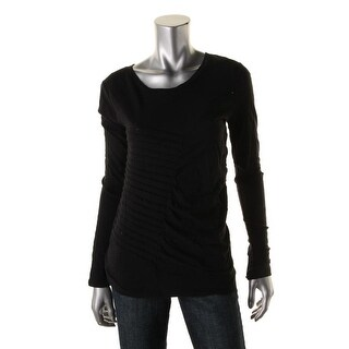 DKNY Jeans Womens Knit Pintuck Pullover Top