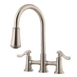 Pfister LG531-YP  Ashfield 2-Handle, Pull-Down Kitchen Faucet with AccuDock Sprayhead, Flex-Line Supply Lines and Pfast Connect