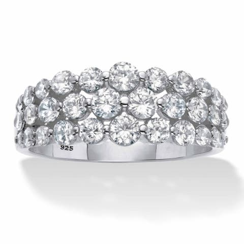 Platinum Plated Silver Cubic Zirconia Triple Row Anniversary Ring - White