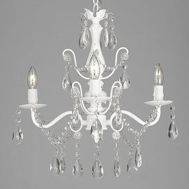 "Wrought Iron and Crystal 4 Light White Chandelier H 14"" X W 15"" Pendant Fixture Lighting"