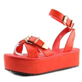 C Label Mollini-4 Open Toe Synthetic Platform Sandal
