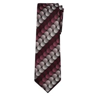 Marquis Men's Burgundy, Gray Geometric 3 1/4 Tie & Hanky Set TH100-006