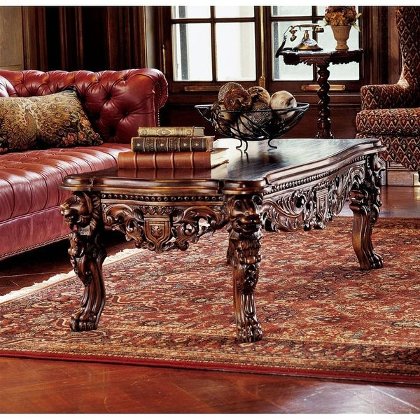 Design Toscano The Lord Raffles Grand Hall Lion Leg Coffee Table - 55 x 29 x 19.5