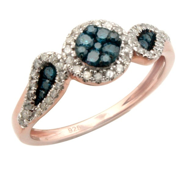Beautiful 0.43ct Round Brilliant Cut Blue Color Diamond with Real Diamond Engagement Ring