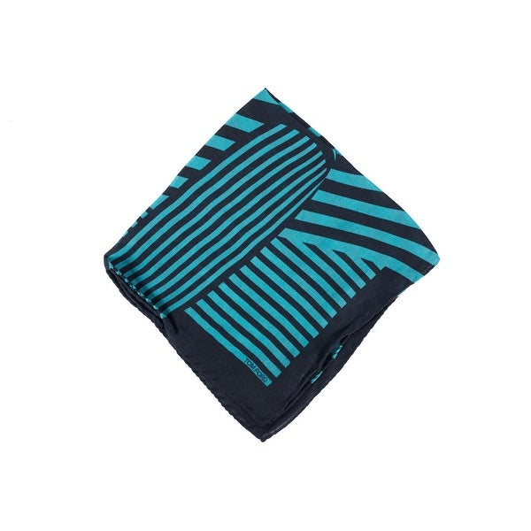 Tom Ford Blue Black Abstract Stripe Silk Pocket Square