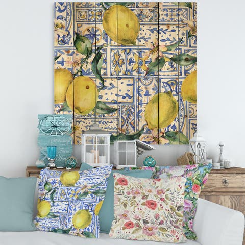 Designart 'Lemon Ornament On Blue Geometrical Pattern I' Tropical Print on Natural Pine Wood