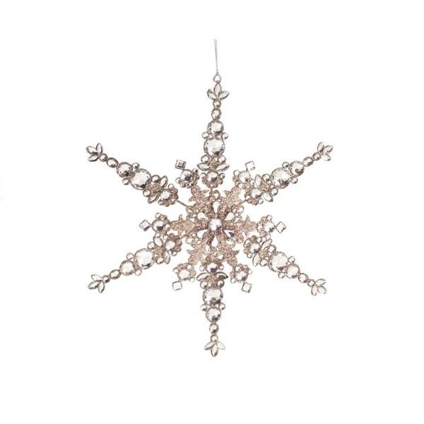 "12"" Luxury Lodge Champagne Glittered Snowflake Christmas Ornament"