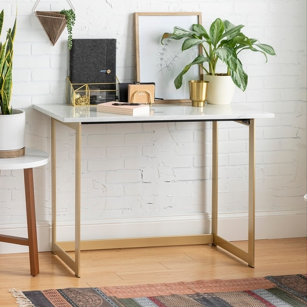Silver Orchid Madsen Faux Marble Writing Desk