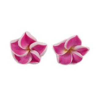 Charming Shark Womens Flower Post Earrings Pink
