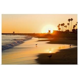 """Sunset at Corona del Mar Beach"" Poster Print"