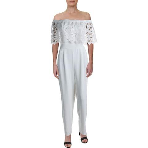 Eliza J Womens Jumpsuit Off-The-Shoulder Floral Lace - Ivory - 10