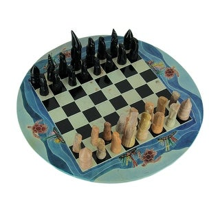 Tribal Sea Turtle Hand Painted 11.75 inch Round Chess Set Hand Carved Pieces - Blue