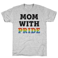 Mom With Pride Athletic Gray Men's Cotton Tee by LookHUMAN