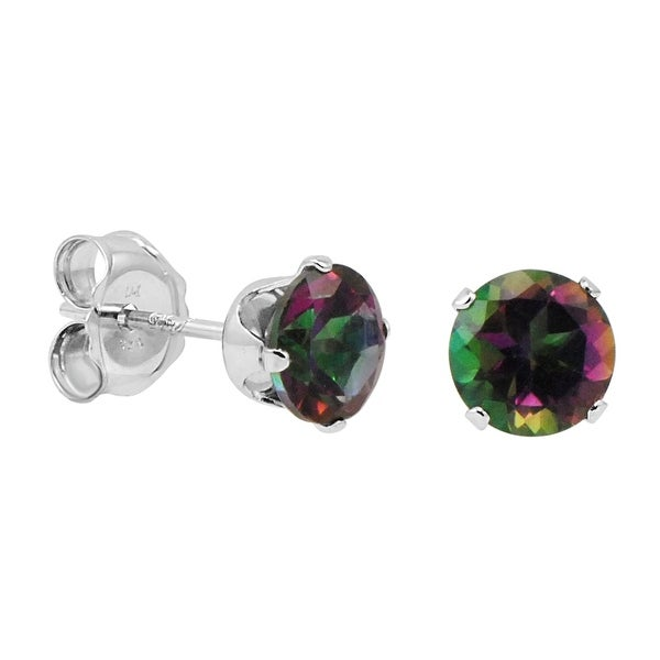 Amanda Rose 5MM Round Mystic Topaz Stud Earrings in Sterling Silver 1ct tgw