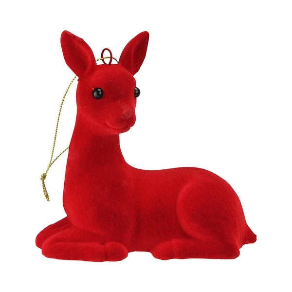 "5"" Scarlet Red Sitting Reindeer Figure Ornament"