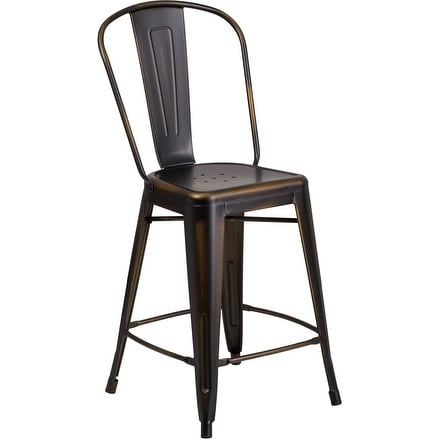 Brimmes 24'' High Distressed Copper Metal Indoor/Outdoor/Patio/Bar Counter Height Stool w/Back