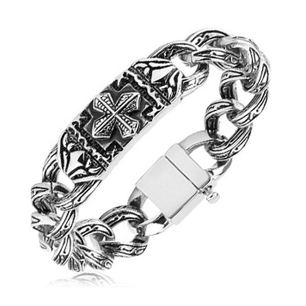 316L Steel Casted Bracelet Celtic Cross and Engraved Links (17.2 mm) - 9 in