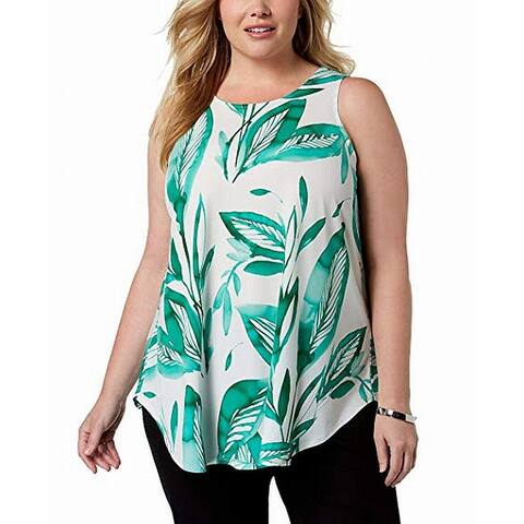 Alfani Women's Top Green Size 1X Plus Palm Leaves Tropical Floral Tank
