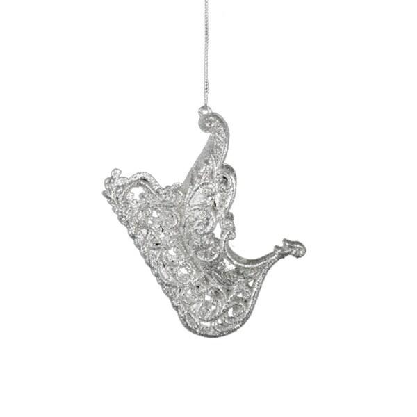 Seasons of Elegance Silver Glitter Sleigh Christmas Ornament