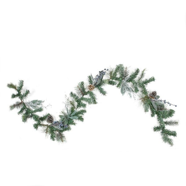 6' Mixed Pine, Blueberries and Snowy Pine Cones Artificial Christmas Garland - Unlit