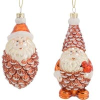 Pack of 6 Decorative Glass Brown and White Santa Cone Ornament