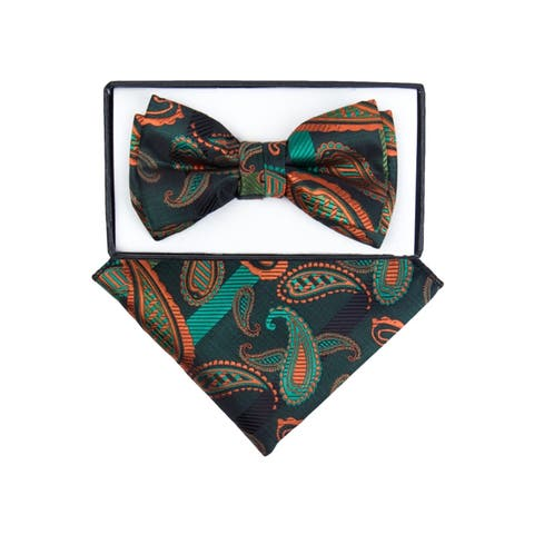 Young Boy's Fancy Pre-tied Adjustable Band Bow Tie With Hanky