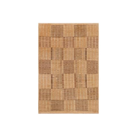 """Contemporary Gabbeh Marybell Tan Brown Wool Rug - 7'8"""" x 9'8"""" - 7'8"""" x 9'8"""""""