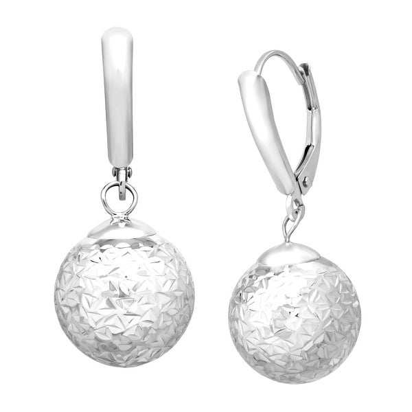 Just Gold Etched Ball Drop Earrings in 14K White Gold