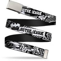 Blank Chrome Buckle Justice League Superheroes Retro Pop White Black Web Belt