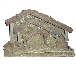 """Set of 3 Rustic and Mossy Wooden Religious Christmas Nativity Stables 18.5"""""""