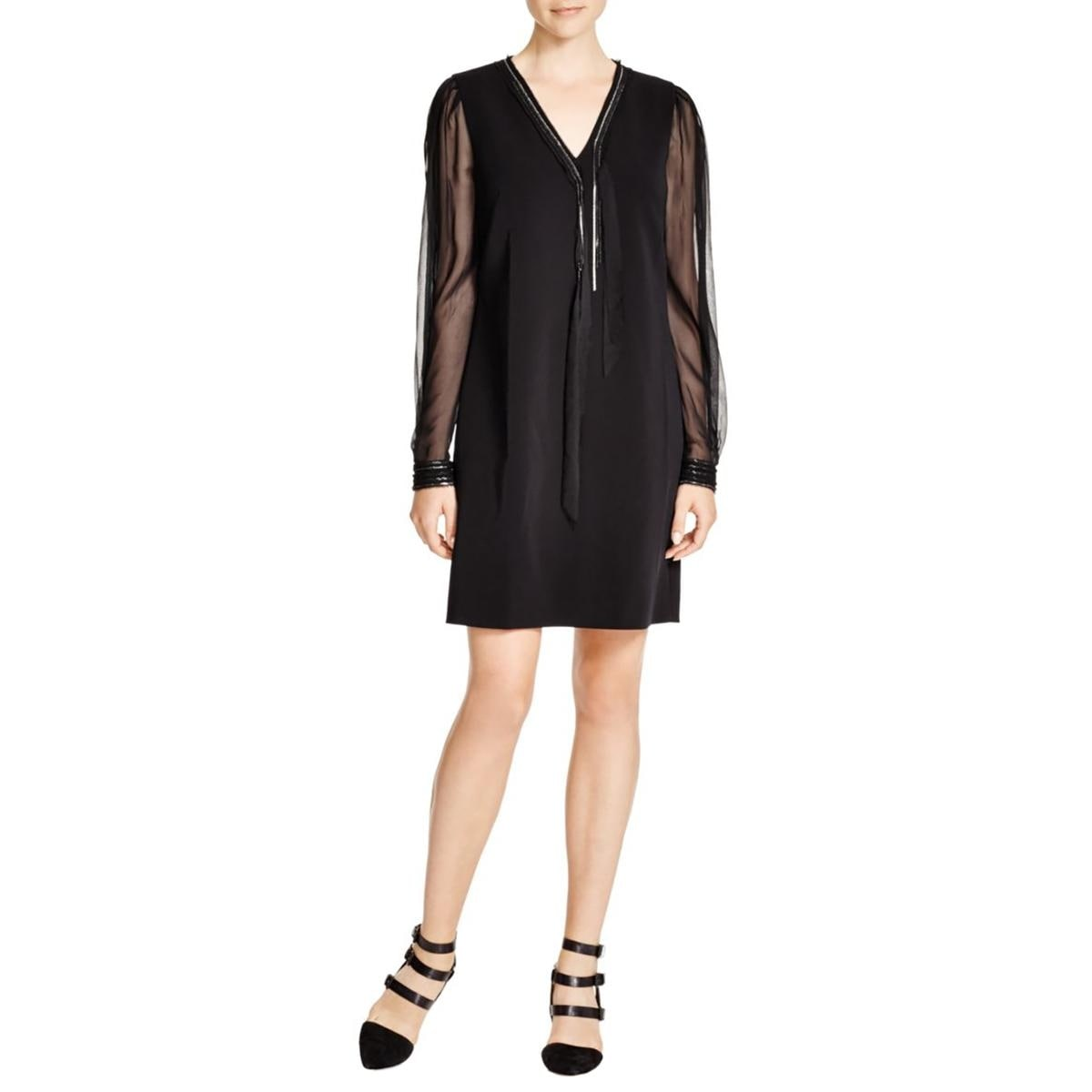 Elie Tahari Womens Pencey Cocktail Dress Silk Chain Trim - Thumbnail 0