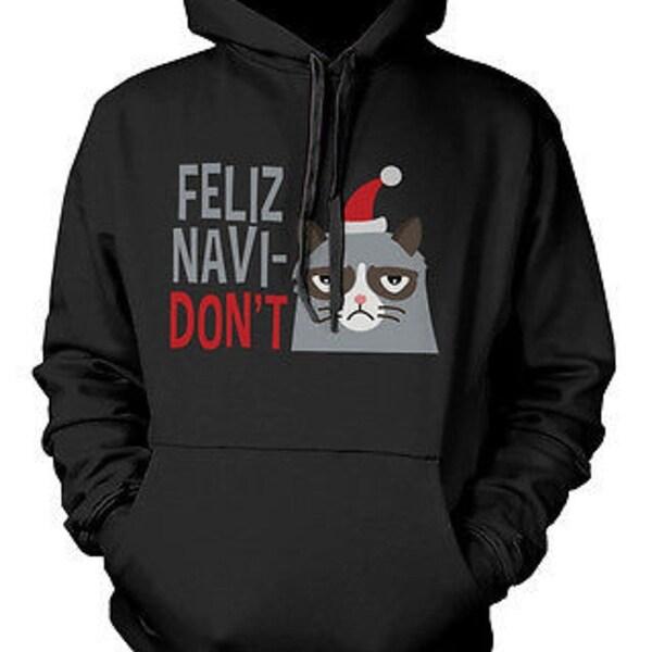 Christmas Hoodies.Funny Grumpy Cat Christmas Hoodies Feliz Navidon T Unisex Black Hoodie