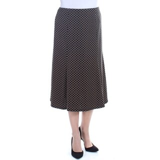 NY COLLECTION Womens Black Pleated Geometric Below The Knee Pencil Wear To Work Skirt Size: L