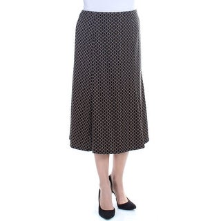NY COLLECTION Womens Black Pleated Geometric Below The Knee Pencil Wear To Work Skirt Size: M