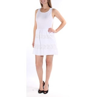 CITY STUDIO Womens New 1539 White Textured Lace Fit + Flare Dress Juniors 9 B+B