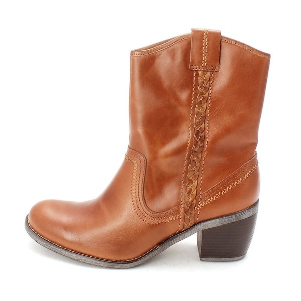Hush Puppies Womens Rustic West Leather Round Toe Ankle Cowboy Boots