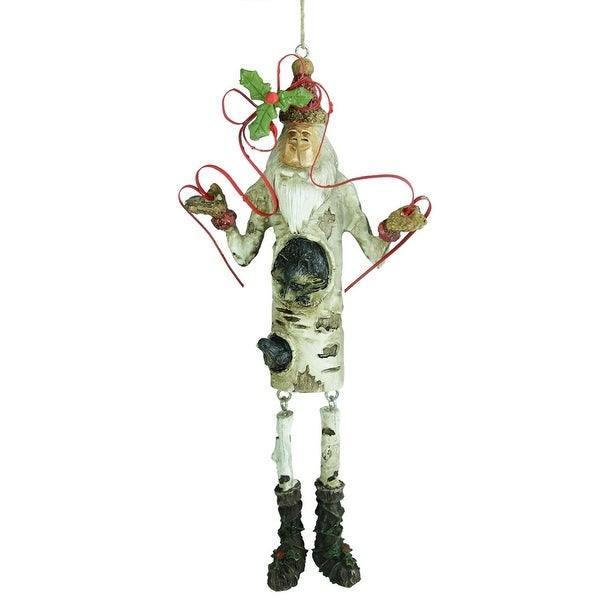 """6.75"""" In the Birches Dangle Leg Santa Claus with Raccoon Christmas Figure Ornament"""